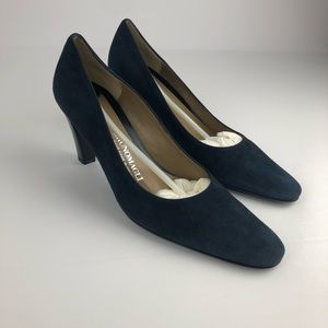 Bruno Magli Navy Suade Pumps Made In Italy